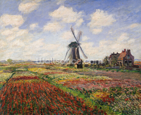 Tulip Fields with the Rijnsburg Windmill, 1886 (oil on canvas) Wallpaper Wall Murals