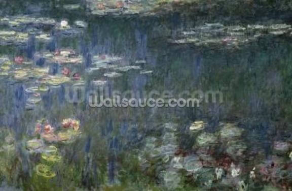 Waterlilies: Green Reflections, 1914-18 (left section) (oil on canvas) Wallpaper Wall Murals