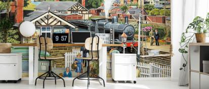 Details about  /3D Train Station ZHU151 Wall Stickers Wall Murals Wallpaper Trevor Mitchell Amy