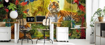Wallpaper Tiger looking through trees in the Jungle wall mural photo 21908284