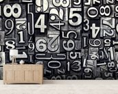 Old Metal Numbers mural wallpaper living room preview