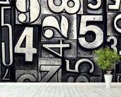 Old Metal Numbers mural wallpaper in-room view