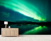 The Northern Lights mural wallpaper living room preview