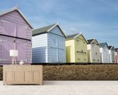 Beach Huts wall mural living room preview