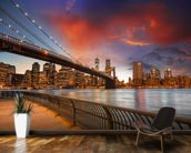 Brooklyn Bridge Park, Sunset mural wallpaper kitchen preview
