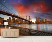 Brooklyn Bridge Park, Sunset mural wallpaper living room preview