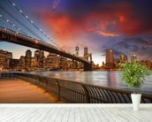Brooklyn Bridge Park, Sunset mural wallpaper in-room view