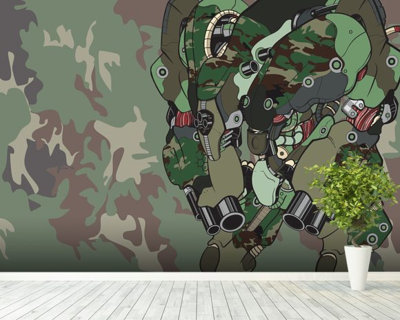 Woodland Camo Protection Bot (2012) wallpaper mural room setting
