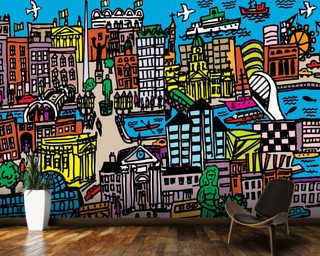 Dublin wall murals dublin city wallpaper murals for Dublin wall mural