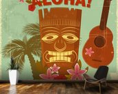 Hawaiian Music mural wallpaper kitchen preview