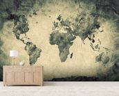 Ancient World Map Sketch wallpaper mural living room preview