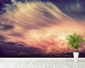 Scenic Sunset Storm mural wallpaper in-room view