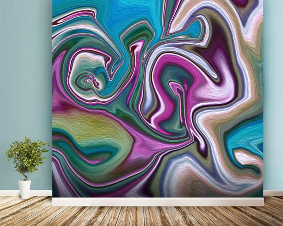 Mixed Marble wall mural room setting