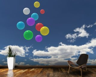 Balloons in the Sky wallpaper mural