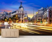 Madrid at Night mural wallpaper living room preview
