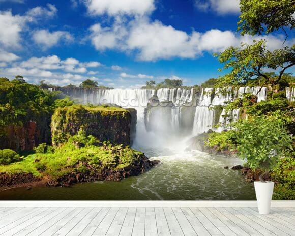 Iguassu Falls from Argentinian side mural wallpaper room setting