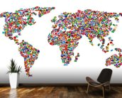 World Map of Flags wall mural kitchen preview