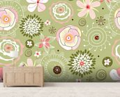 Floral wall mural living room preview