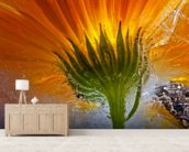 Frozen Marigold mural wallpaper living room preview