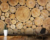 Stacked Round Logs wallpaper mural kitchen preview