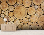Stacked Round Logs wallpaper mural living room preview