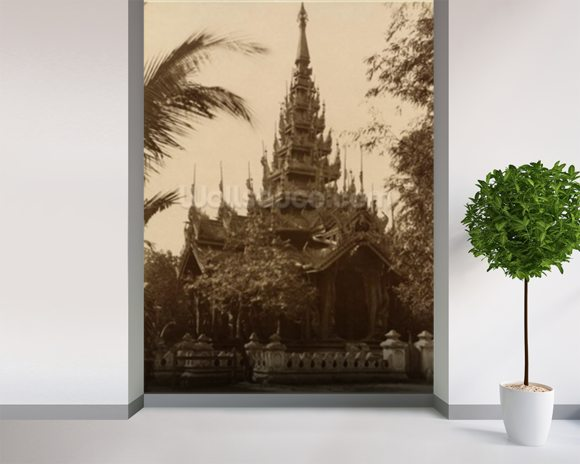 Temple in Mandalay, Burma, late 19th century (albumen print) (b/w photo) mural wallpaper room setting