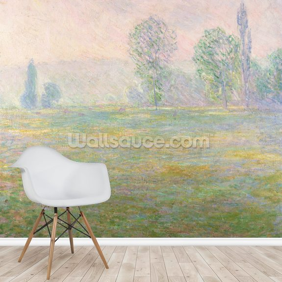 Meadows in Giverny, 1888 wallpaper mural room setting