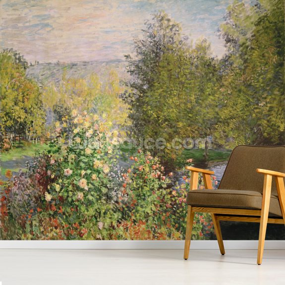 A Corner of the Garden at Montgeron, 1876-7 (oil on canvas) wall mural room setting