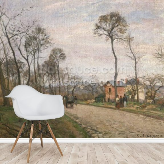 The Road from Louveciennes, 1870 (oil on canvas) mural wallpaper room setting