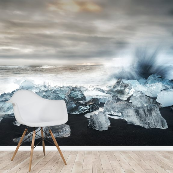 Water and Ice mural wallpaper room setting