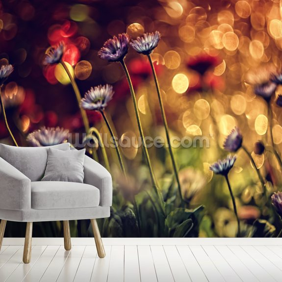 Fire Flowers wallpaper mural room setting