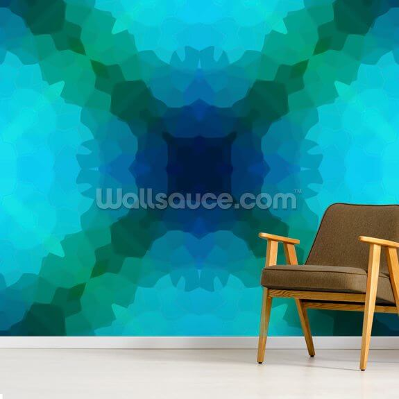 Shades of Blue and Green wall mural room setting