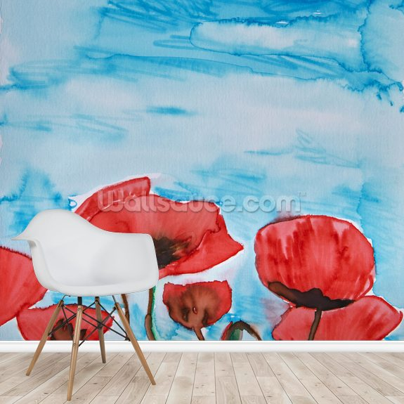 Painting of Red Poppies wall mural room setting