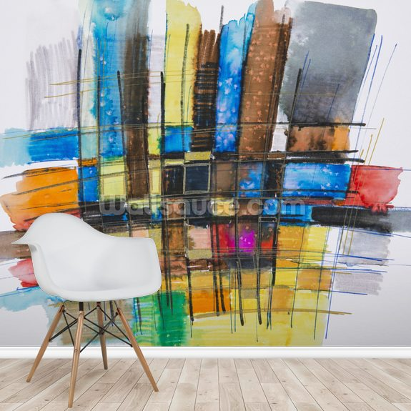 Painting of a Colourful Grid wallpaper mural room setting
