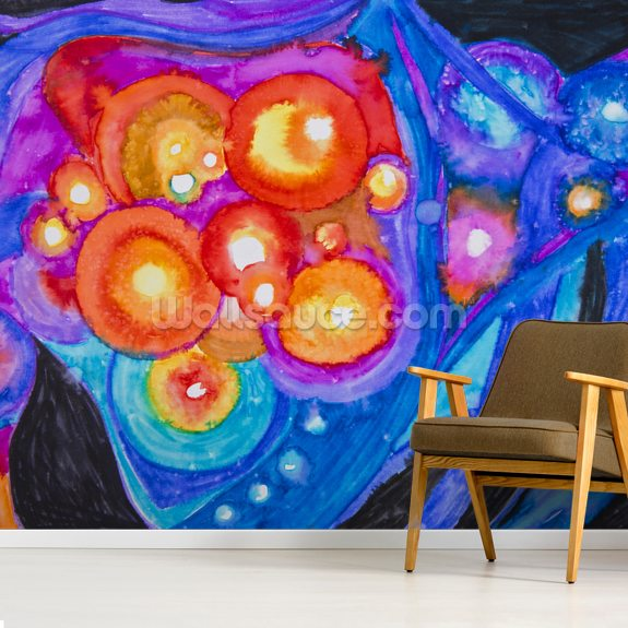 Colourful abstract painting wall mural room setting