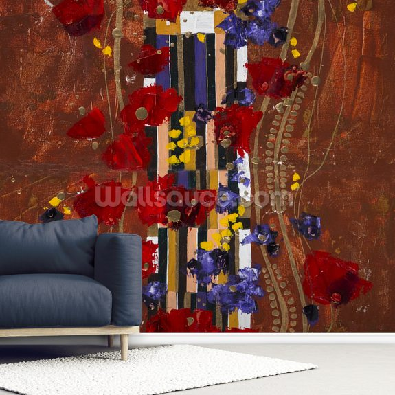 Colourful abstract painting 2 wallpaper mural room setting
