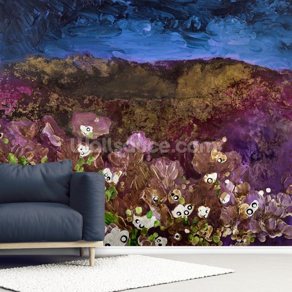 Painting of Landscape with Storm Clouds mural wallpaper room setting