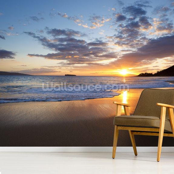 Maui Beach Sunset wallpaper mural room setting