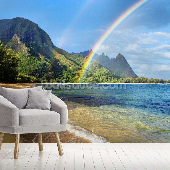 Kauai Rainbow mural wallpaper room setting