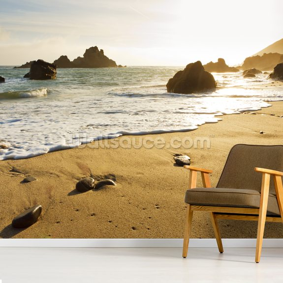 California, Big Sur, Pfeiffer Burns Beach At Sunset mural wallpaper room setting