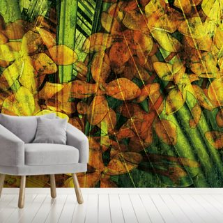 Collage Of Palm Leaf And Orchids
