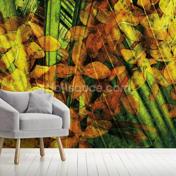 Collage Of Palm Leaf And Orchids mural wallpaper room setting