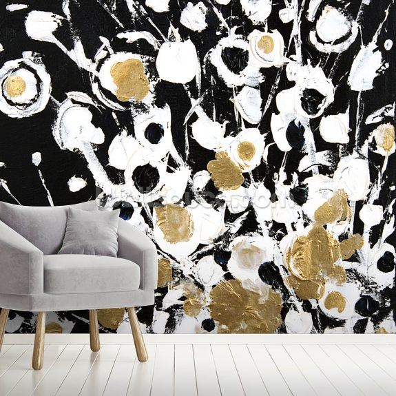 Abstract Flora - 2 Panel Series mural wallpaper room setting