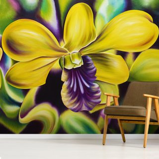 Close-Up Of Yellow Orchid Blossom (Oil Painting) Wallpaper Wall Murals