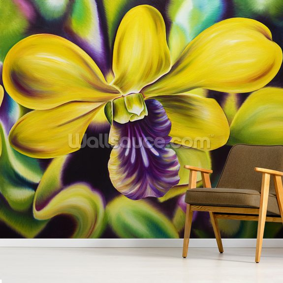 Close-Up Of Yellow Orchid Blossom (Oil Painting) wallpaper mural room setting