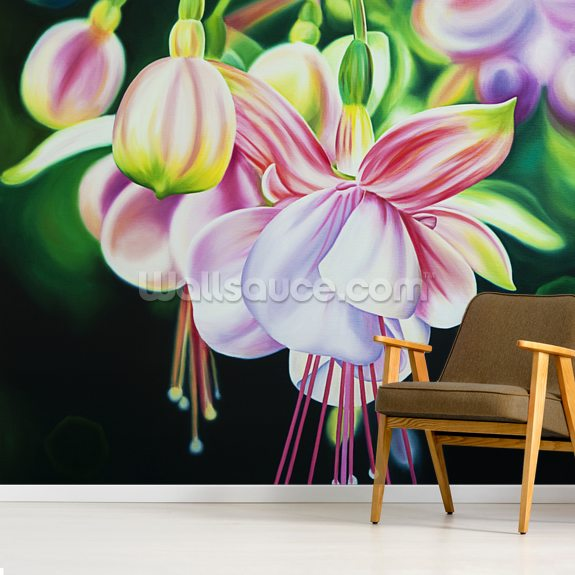 Begin Again, Close-Up Of Fuschia Blossoms (Oil Painting) mural wallpaper room setting