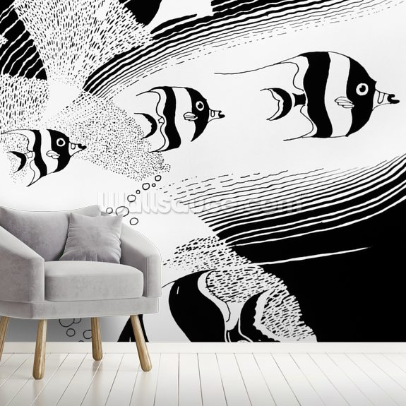 Reef Angelfish Illustration mural wallpaper room setting