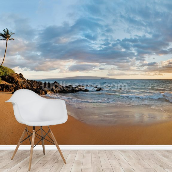 Hawaii, Maui, Makena, Secret Beach At Sunset 2 wallpaper mural room setting