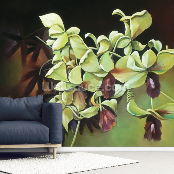 Orchid Group - Cluster Of Green Orchids On Stem wallpaper mural room setting
