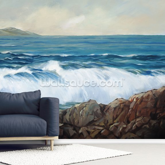 Wave Crashing On Rocky Shoreline mural wallpaper room setting